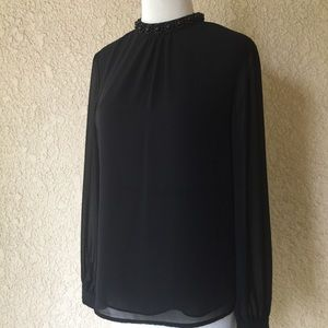 Ted Baker Embellished Collar Black Blouse 1